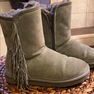 Gray LAMB Sherpa lined suede boots